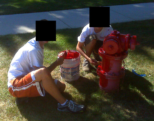 Kids paint Chicago Fire Hydrants